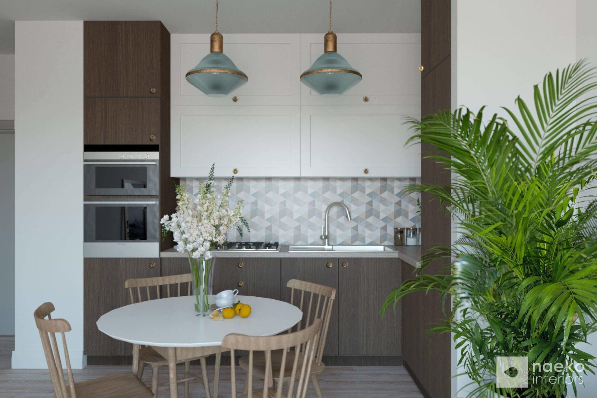 Projekt wnętrza eklektycznej, otwartej kuchni w kolorze ciemnego drewna i jasnymi górnymi frontami oraz jasnym stolikiem z 4 drewnianymi stołkami