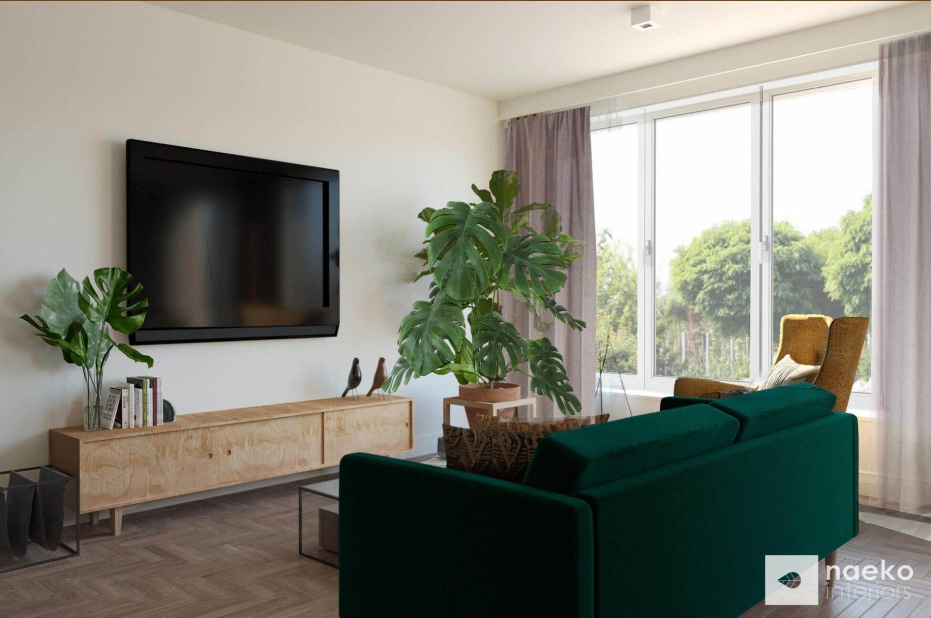 Projekt wnętrz strefy dziennej z sofą vintage w kolorze butelkowej zieleni, TV na ścianie i regałem RTV ze sklejki oraz musztardowym fotelem vinatge