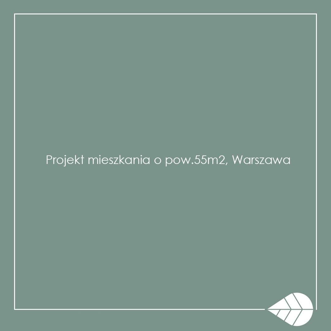 """Jasnozielona plansza z tytułem """"Projekt mieszkania o pow.55m2"""" Naekointeriors"""