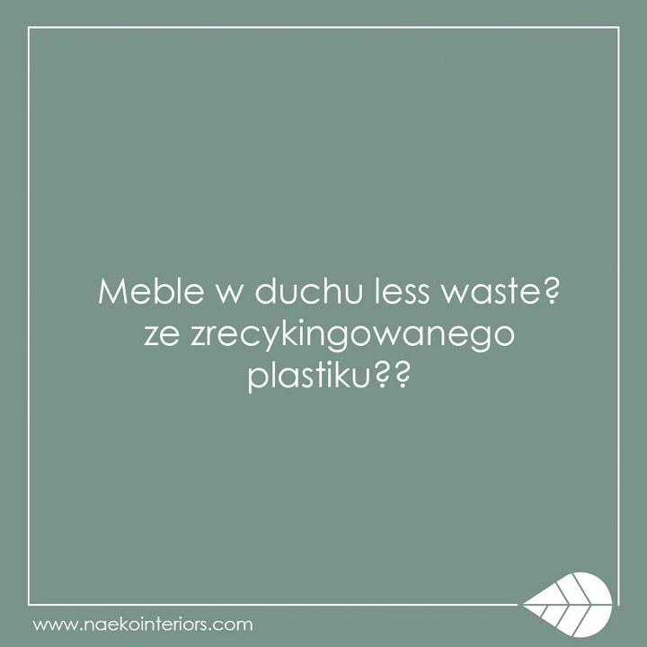 Jasnozielona plansza z hasłem opisowym o meblach w duchu less waste