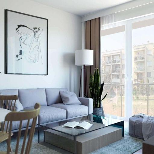 Projekt wnętrza salonu w stylu skandynawskim z jasnoszarą sofą oraz stolikiem z 2 drewnianymi krzesłami, a także dużym abstrakcyjnym obrazem wiszącym na ścianie nad sofą