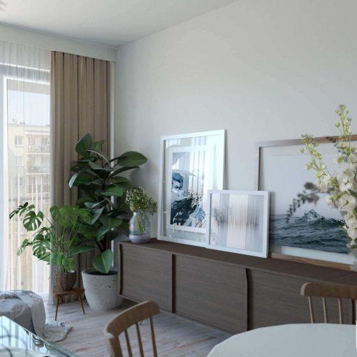 Projekt wnętrza salonu w stylu skandynawskim i komodą vinatge oraz kilkoma obrazami i dużą ilością roślin doniczkowych