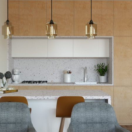 Projekt wnętrza otwartej kuchni z wyspą kuchenną, wykończoną w jasnym drewnie ze sklejki i blatami z konglomeratu
